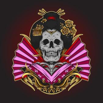 Ilustração de esqueleto de gueixa, crânio japonês