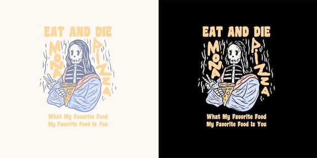 Ilustração de esqueleto de pizza para camiseta
