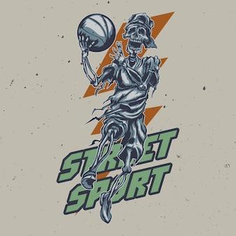 Ilustração de esqueleto jogador de streetball
