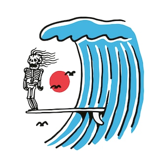Ilustração de esqueleto surf beach
