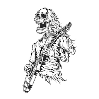 Ilustração de esqueleto tocando guitarra
