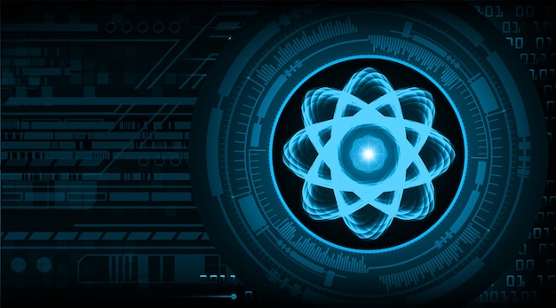 Ilustração de esquema de átomo brilhante.