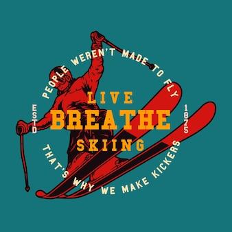 Ilustração de esqui esportivo de inverno de esquis masculinos