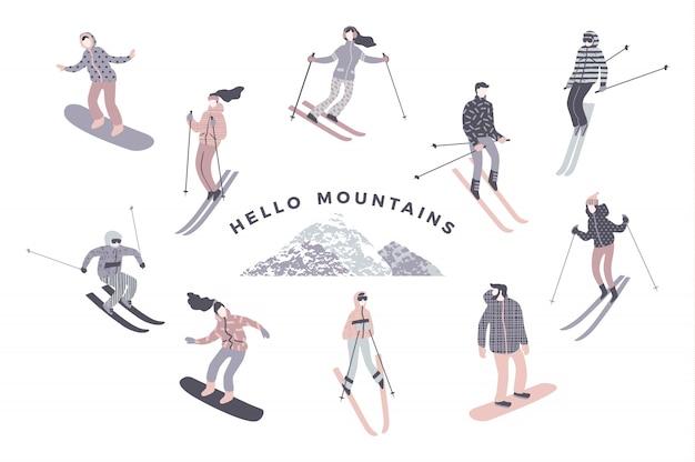Ilustração de esquiadores e snowboarders. estilo retro na moda.