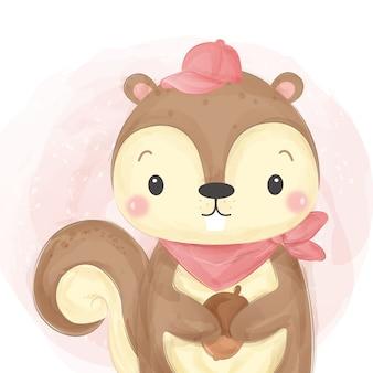 Ilustração de esquilo adorável estilo aquarela
