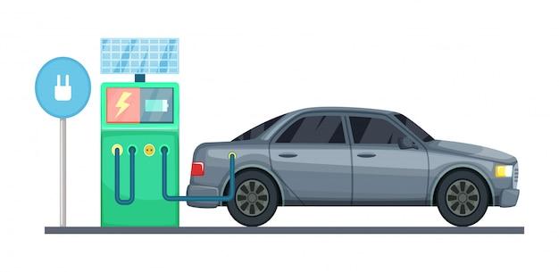 Ilustração de estação de carregamento de carro elétrico