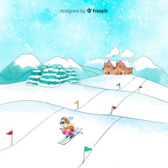 Ilustração de estação de esqui em aquarela