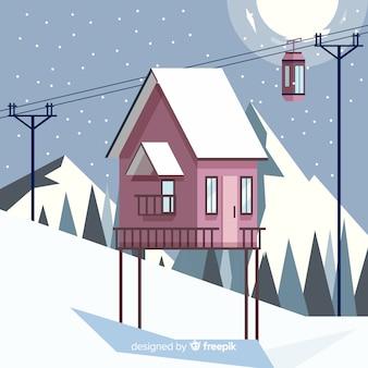 Ilustração de estação de esqui noturna