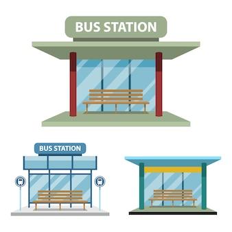 Ilustração de estação de ônibus isolada no branco