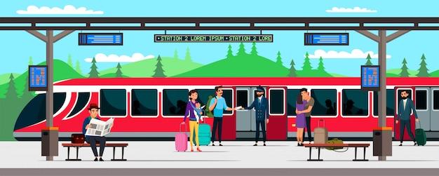 Ilustração de estação e passageiros de trem