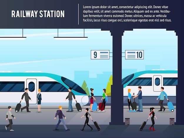 Ilustração de estação ferroviária interurbana
