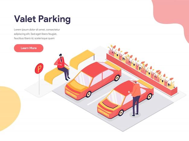 Ilustração de estacionamento com manobrista