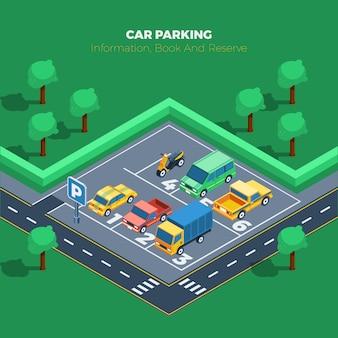 Ilustração de estacionamento de carro