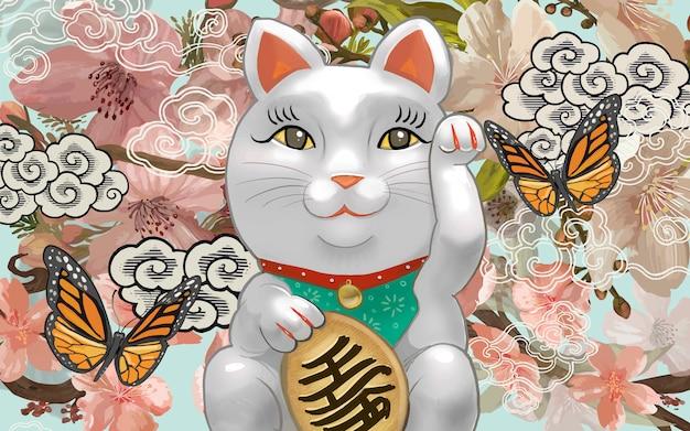 Ilustração de estatueta japonesa maneki neko