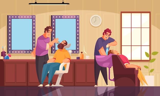 Ilustração de esteticista de maquiagem e salão de cabeleireiro