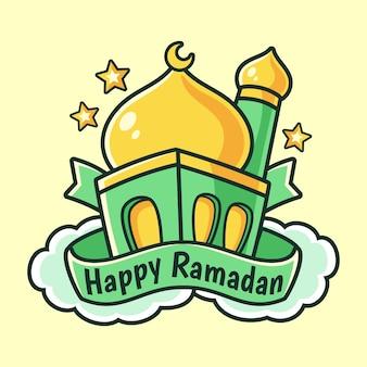 Ilustração de estilo cartoon de construção de mesquita islâmica