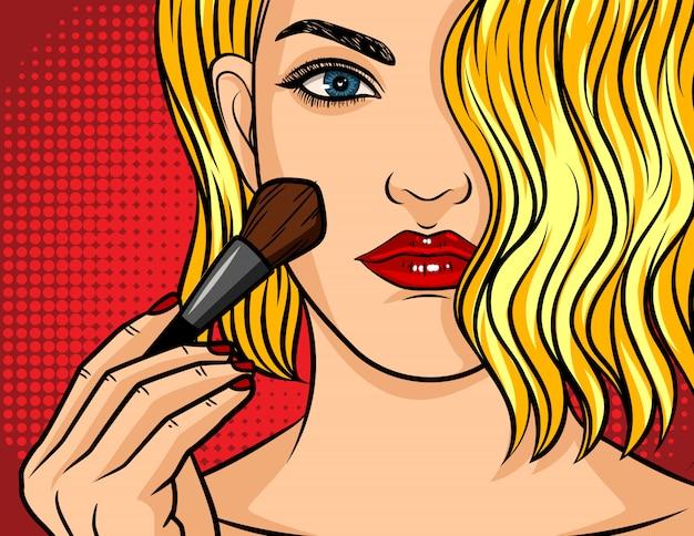 Ilustração de estilo cômico pop art, menina com batom vermelho no vermelho pontilhado