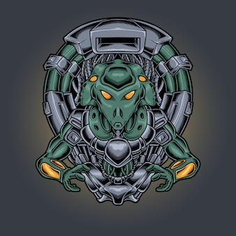 Ilustração de estilo cyberpunk robótico alienígena