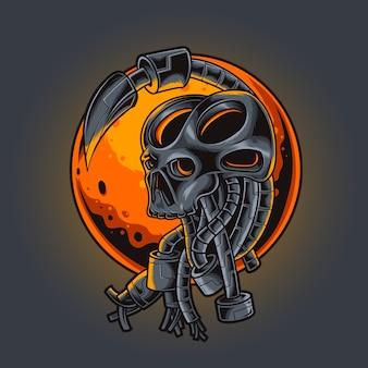 Ilustração de estilo cyberpunk robótico com cabeça de crânio