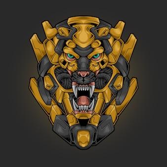 Ilustração de estilo cyberpunk robótico com cabeça de leão
