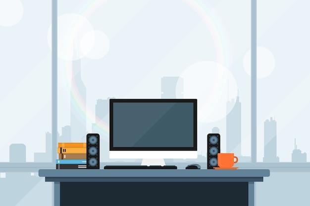 Ilustração de estilo de espaço de trabalho moderno no escritório com o wiev no panorama da cidade grande