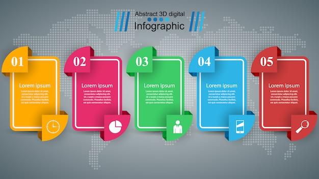 Ilustração de estilo de origami de infográficos de negócios