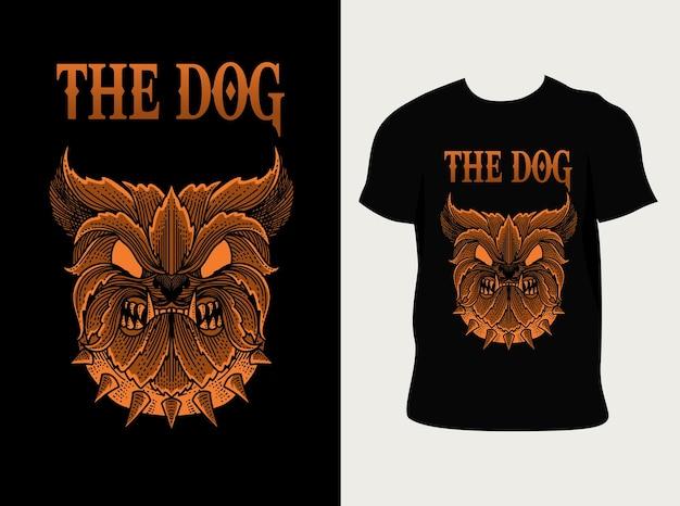 Ilustração de estilo de ornamento de gravura de cabeça de cachorro em camiseta