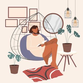 Ilustração de estilo de vida de hygge desenhada à mão plana com pessoas
