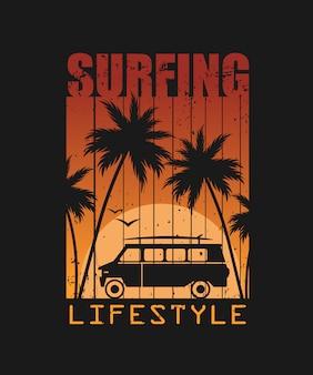 Ilustração de estilo de vida de surf