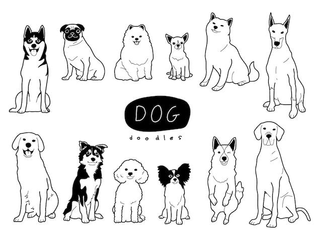 Ilustração de estilo doodle de cão desenhada à mão bonito e adorável