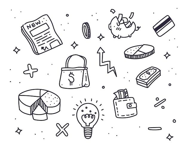 Ilustração de estilo doodle de finanças