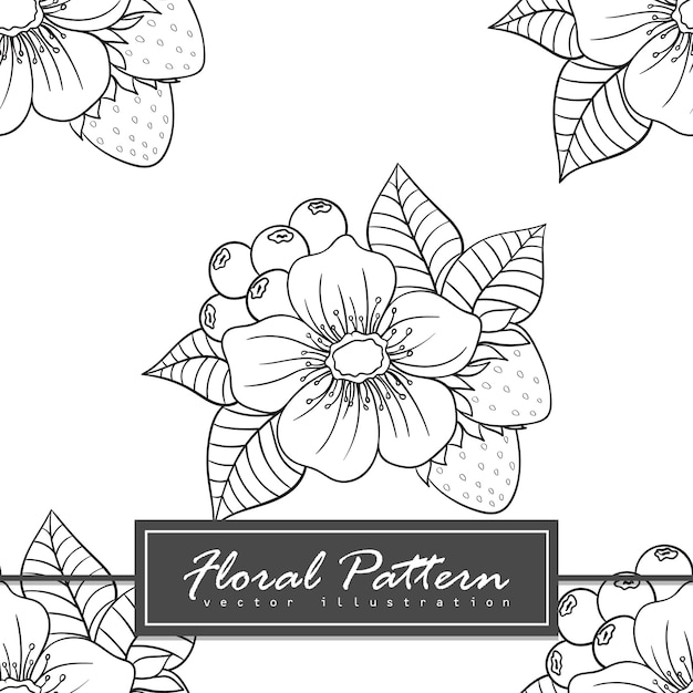 Ilustração de estilo doodle sem costura padrão floral na moda