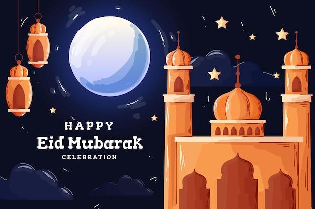Ilustração de estilo eid mubarak desenhada à mão e plana
