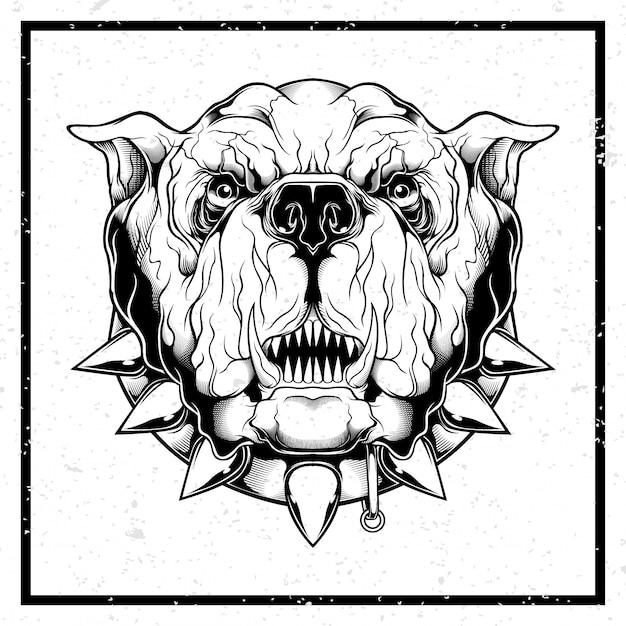 Ilustração de estilo grunge closeup de buldogue furioso