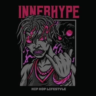 Ilustração de estilo hiphop interno hype