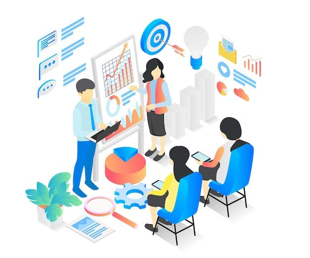 Ilustração de estilo isométrico de curso de negócios ou aprendizado de negócios