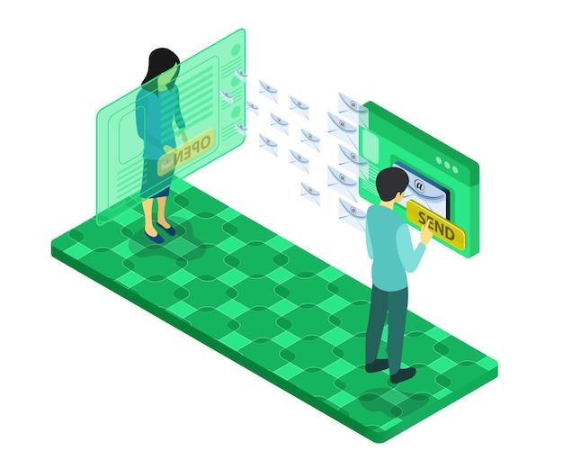 Ilustração de estilo isométrico de estratégia de marketing com personagem e e-mail