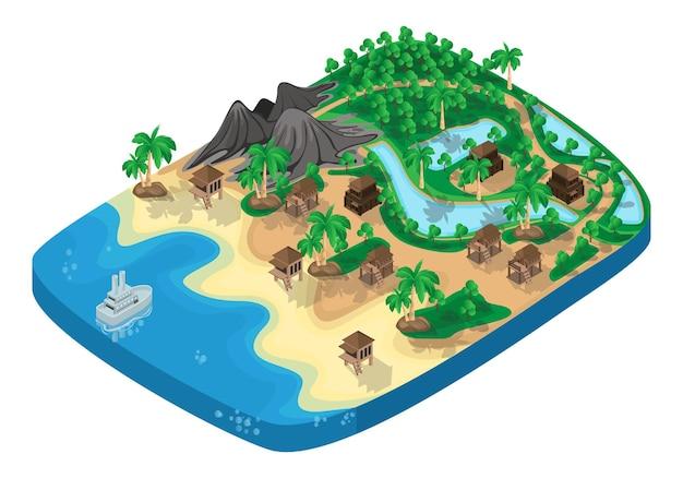 Ilustração de estilo isométrico de mapa rural à beira-mar com casas de tábuas e estrada de terra