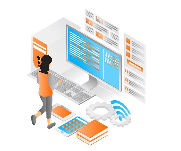 Ilustração de estilo isométrico moderno sobre design de interface do usuário e computador de aplicativo ou celular