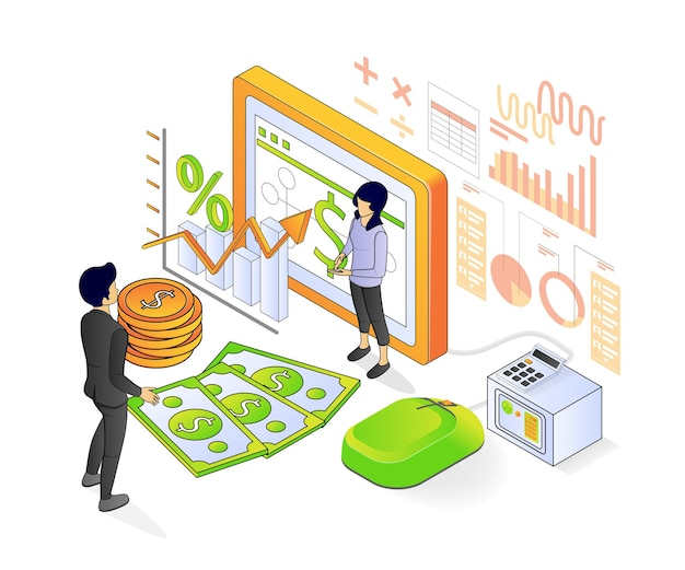 Ilustração de estilo isométrico moderno sobre empresa de contabilidade e gestão