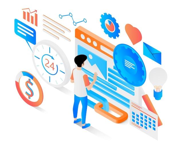 Ilustração de estilo isométrico moderno sobre estratégia de marketing eficaz e sustentável
