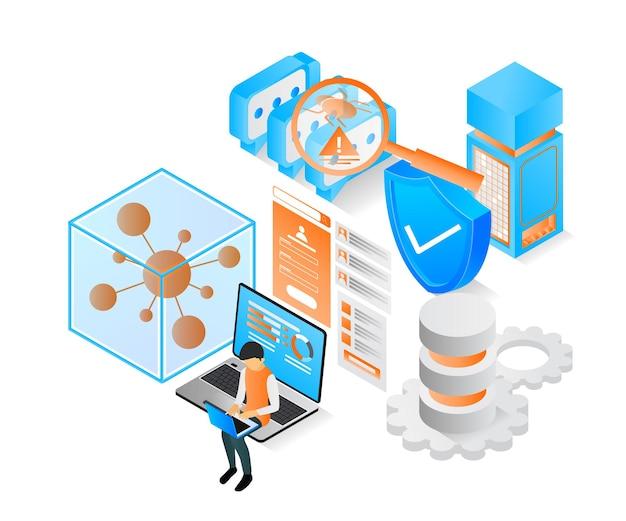 Ilustração de estilo isométrico moderno sobre servidor de dados de segurança e ataque de vírus