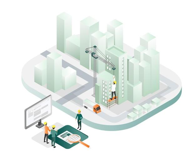 Ilustração de estilo isométrico sobre arquiteto e equipe trabalhando na supervisão de campo