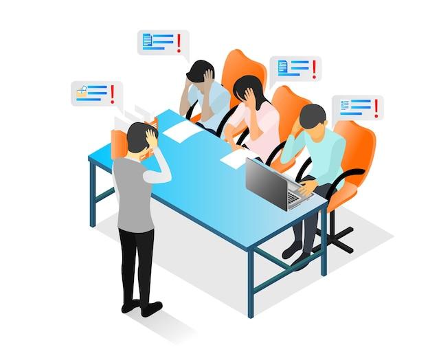 Ilustração de estilo isométrico sobre uma equipe de negócios se reunindo com um personagem em profunda reflexão