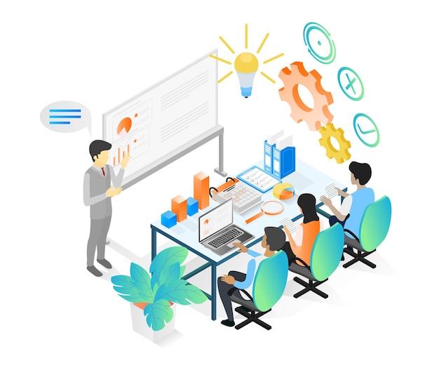 Ilustração de estilo isométrico sobre uma equipe de negócios tendo uma reunião e discussão de crescimento de negócios