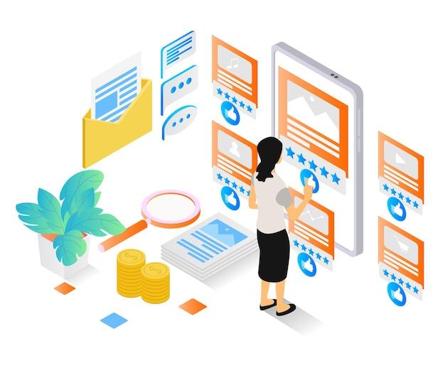 Ilustração de estilo isométrico sobre uma mulher dando feedback ou classificação em seu negócio