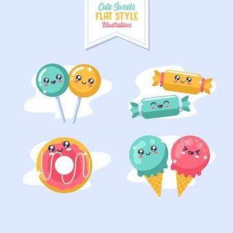Ilustração de estilo plano bonito doces doces