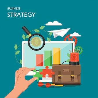 Ilustração de estilo plano de estratégia de negócios