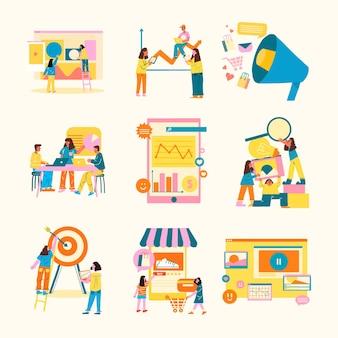 Ilustração de estilo plano de negócios