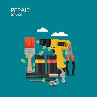 Ilustração de estilo plano de serviço de reparo